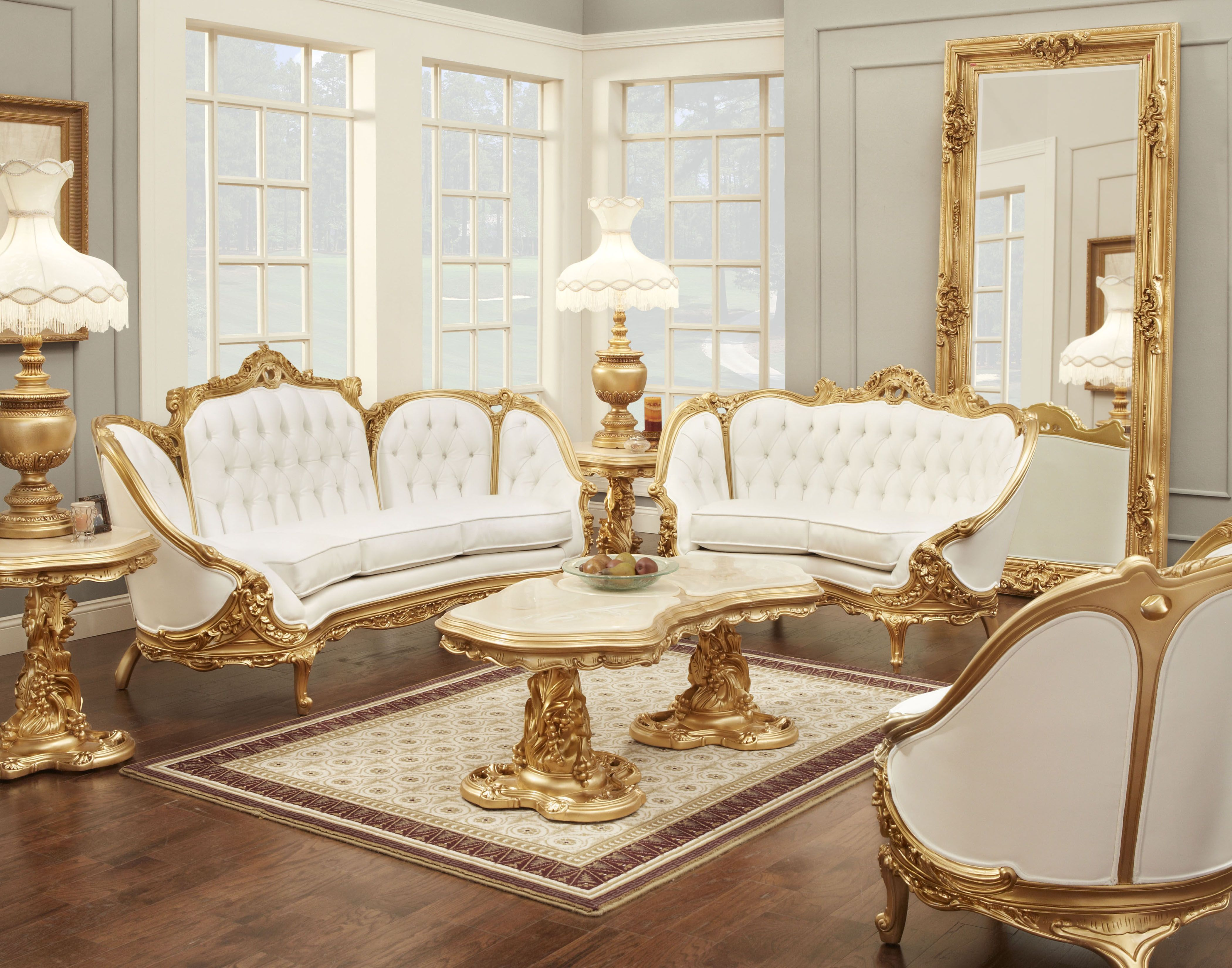 formal living room furniture and a white sofa with gold frame