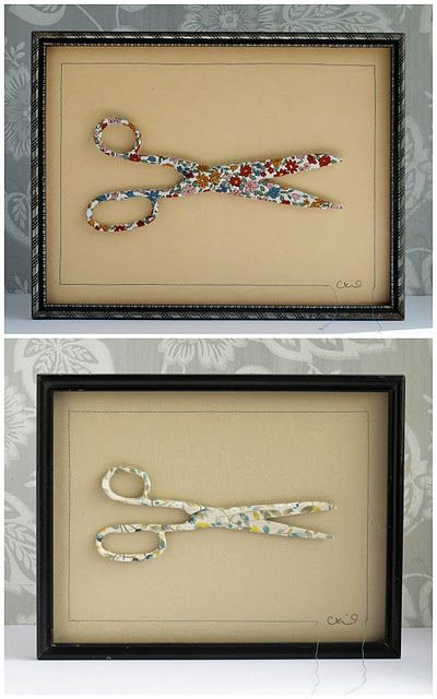 Broken scissors? Turn them into art.-for a craft room maybe..?