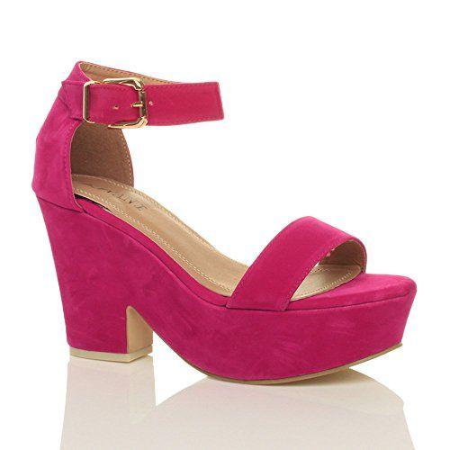 Ajvani Womens Mid High Block Heel Ankle Strap Peep Toe Shoes Sandals Size 6  37 *