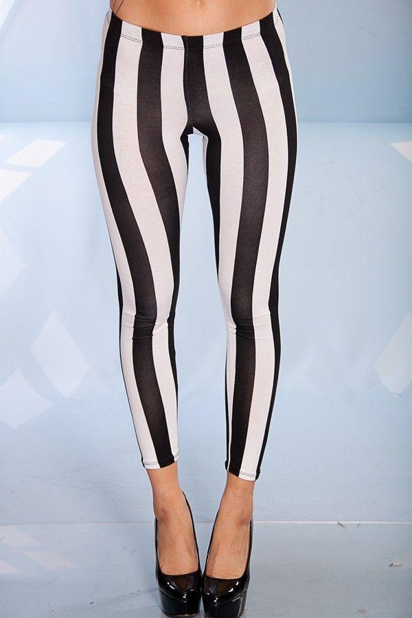 96beb51b929dfa BLACK WHITE VERTICAL STRIPE PANT LEGGINGS,Women Pants-Sexy Hot Pants,Tight  Pants