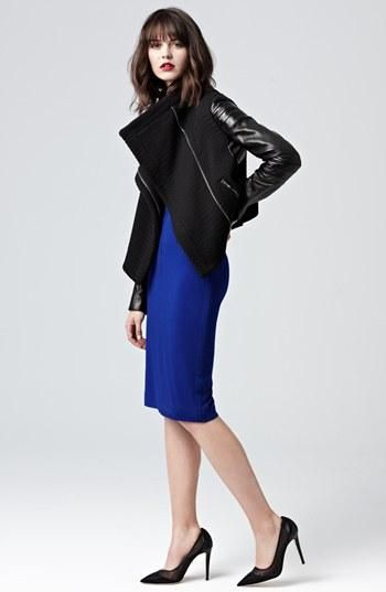 Diane von Furstenberg Leather Jacket & Bright Blue Dress