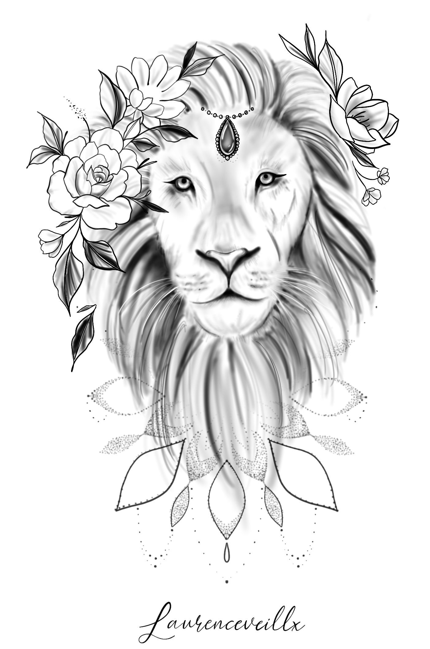Lion Flower Mandala Tattoo Design Laurenceveillx Design Flower Laurenceveillx Lion Mandala Tattoo In 2020 Mandala Tattoo Design Lion Tattoo Design Lion Flower