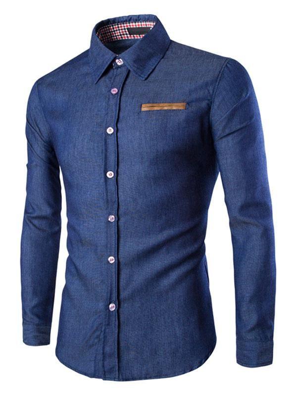 6a298c747ac  Milanoo.com -  milanoo.com Blue Denim Shirts Men s Long Sleeve Fit Cotton Casual  Shirts - AdoreWe.com