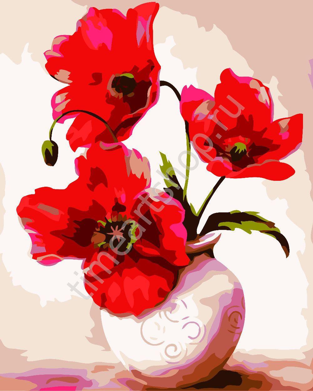 Яркие маки в вазе, картина раскраска по номерам, размер 40 ...