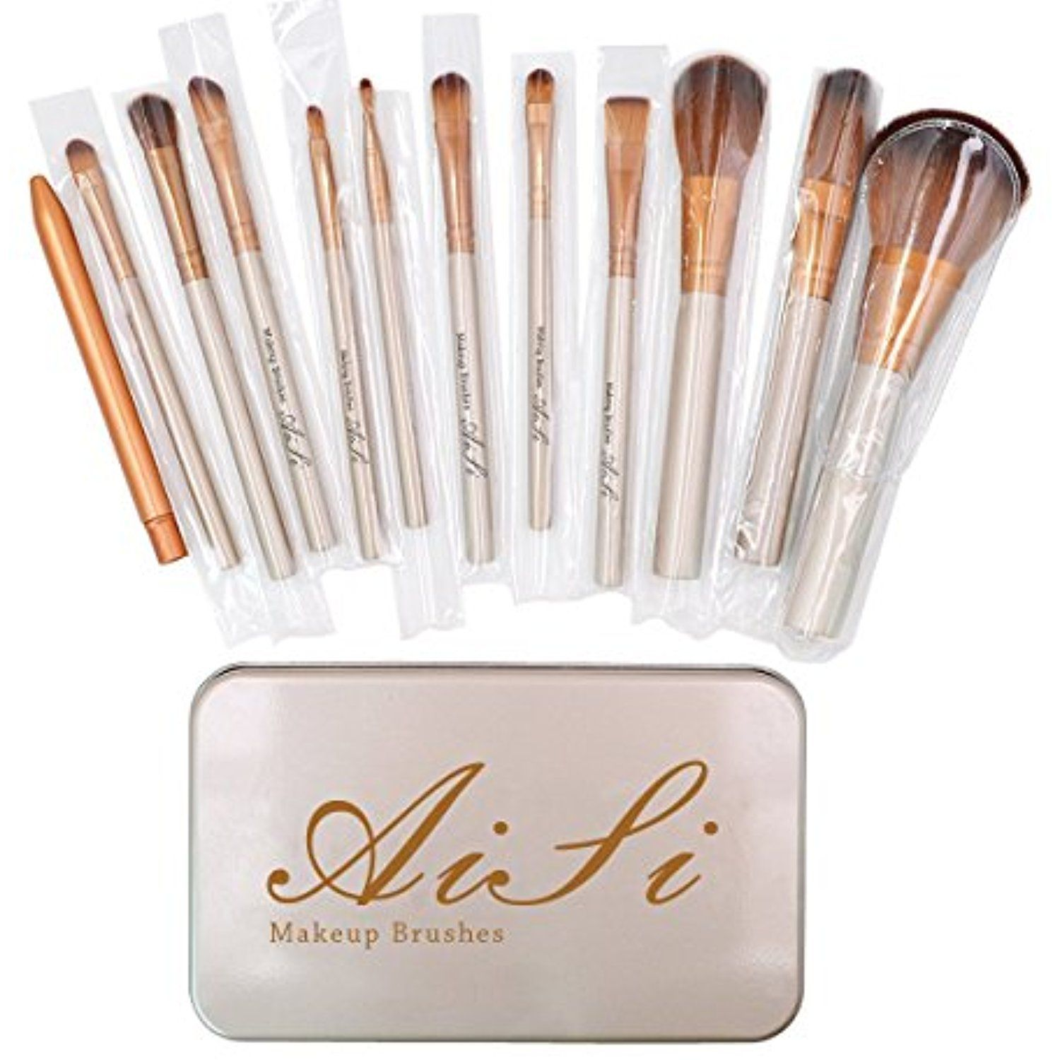 Aisa® Makeup Cosmetic Brush Set 12Piece Bamboo Handle