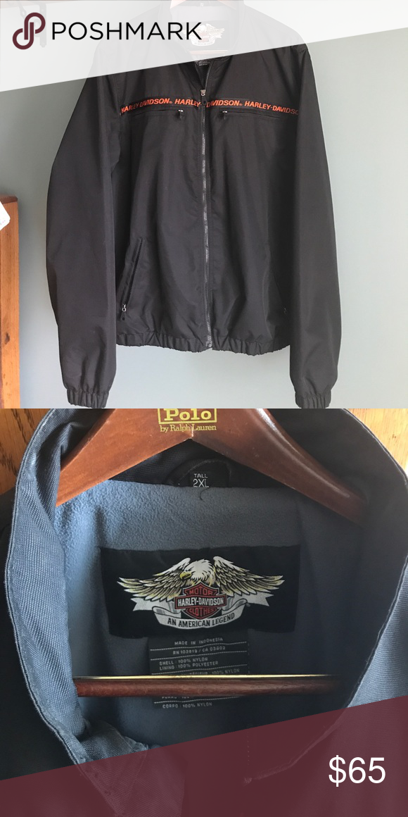 Harley Davidson Jacket Men's XXL Tall nylon canvas jacket with fleece lining. Excellent condition, worn only a couple times.   Outside has zippered chest pockets and zippered side pockets.  Inside has zippered chest pockets. Elastic waistband and sleeves. Smoke free home. Harley-Davidson Jackets & Coats Bomber & Varsity