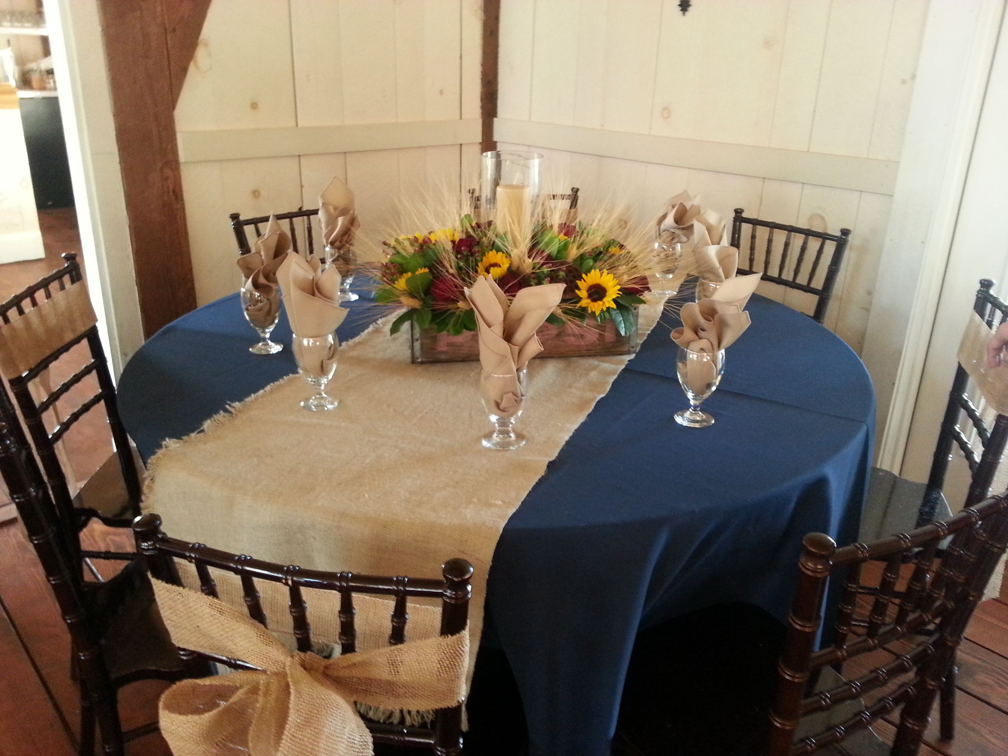 navy blue and burlap runner white plates assorted colors of