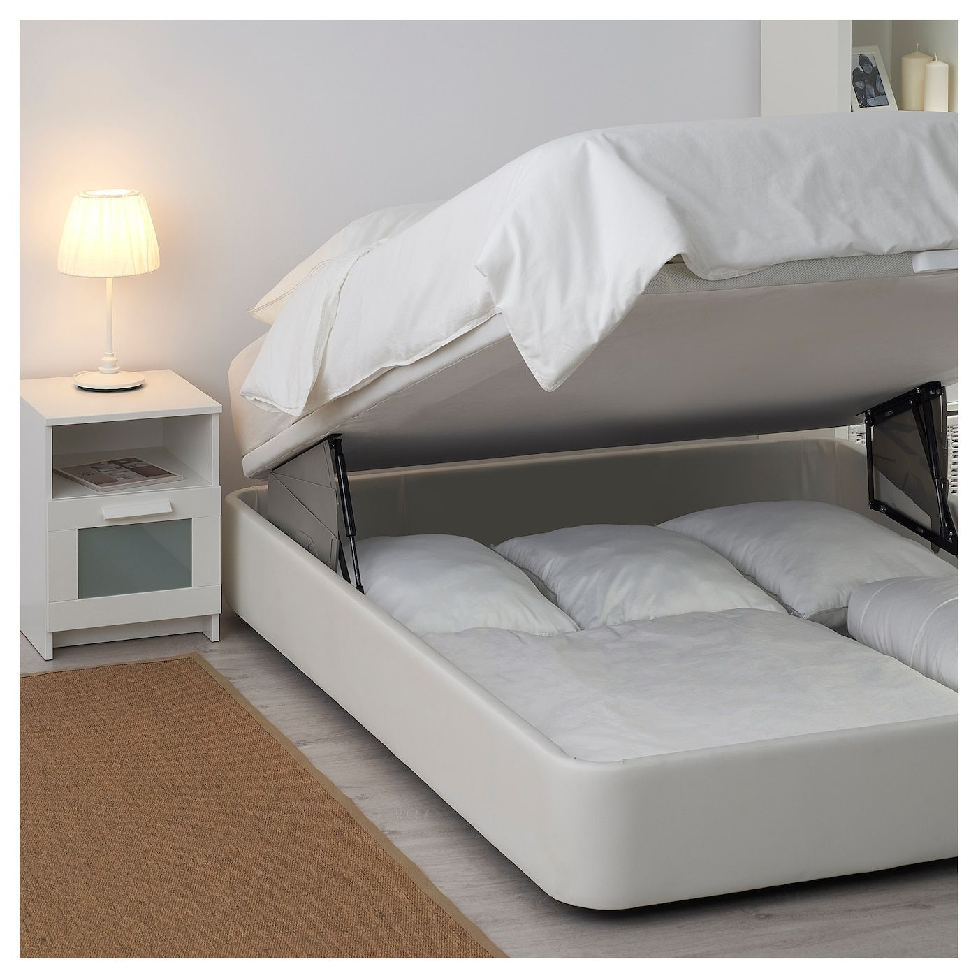 Kvitsoy Estrut Cama Acolchoada C Arrumacao Bomstad Branco 160x200 Cm Furniture Bed Ikea