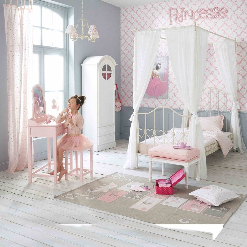 Ivoorkleurig metalen hemelbed 90x190 | KIDS DECORATION | Four poster ...