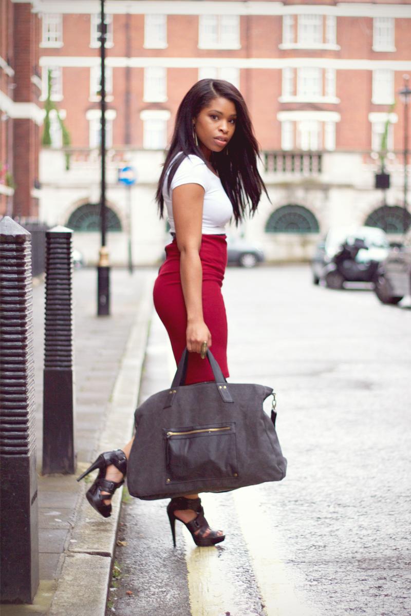 502f83b980 pencil skirt and heels | Wine pencil Skirt by meek-n-mild.comSkirt :  Topshop Tee : H&M Heels .