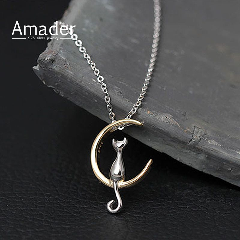 Amader 925 sterling silver jewelry moon cat kitty cute animal amader 925 sterling silver jewelry moon cat kitty cute animal chain choker necklaces pendants for mozeypictures Image collections