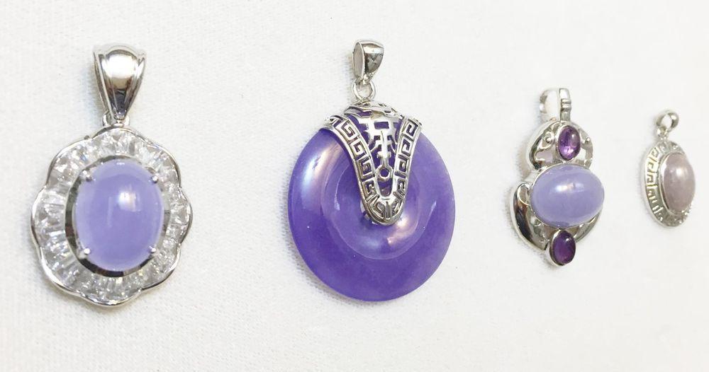 Jewelry Lot 4 Sterling Silver Chinese Pendant Jade Amethyst CZ   eBay