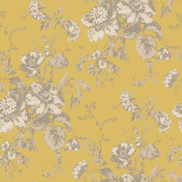 Arthouse vintage fleurette gold effect floral wallpaper for Gold bird wallpaper