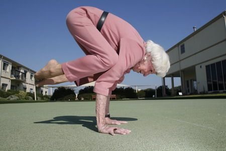 This Will Be Me! I am on the path to learning this pose in my 40's. I figure I have another 50 years to perfect it!