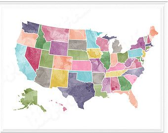 USA Map Watercolor Printable For Instant Download In X And - Us map redrawn background