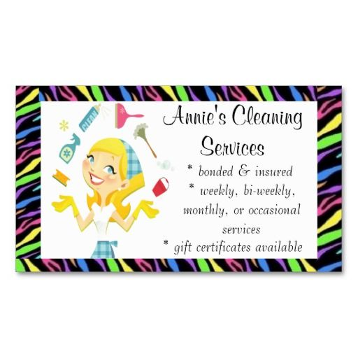 house cleaning business card examples