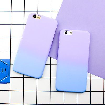 Fashion Simple Cute Purple Blue Matte Hard Case Cover Skin For iPhone 6 6S Plus