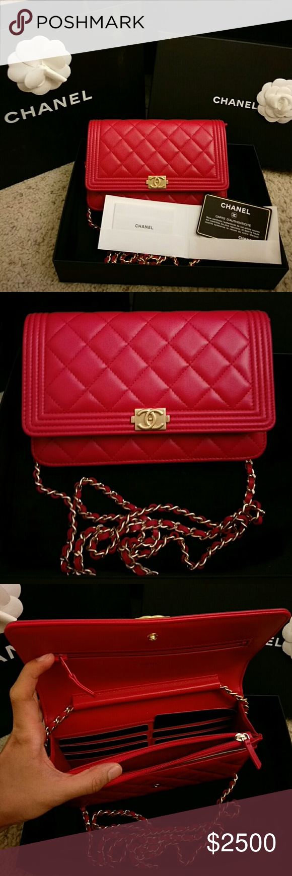 203fa7f45fa3b0 Brand new red lambskin Chanel boy wallet on chain It is a brand new with 100