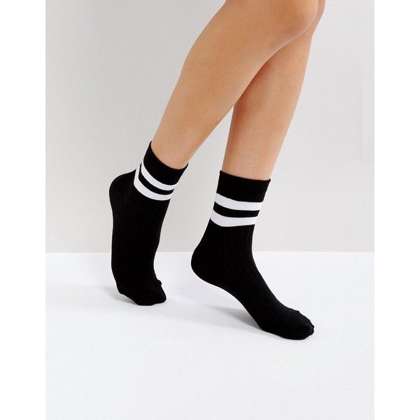 8f1ef509691 ASOS Stripe Ribbed Ankle Socks ( 5) ❤ liked on Polyvore featuring  intimates