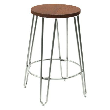 Phenomenal Quinn Round Wood Top Backless Counter Stool Silver Home Unemploymentrelief Wooden Chair Designs For Living Room Unemploymentrelieforg