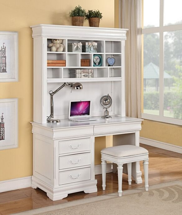 classique collection white finish wood children 39 s desk hutch and stool desk features 5 drawers. Black Bedroom Furniture Sets. Home Design Ideas