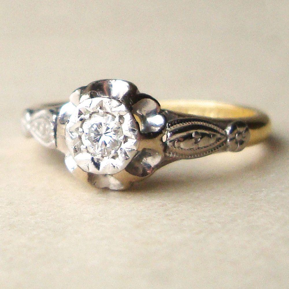 Antique Diamond Solitaire Engagement Ring, 1920s Solitaire