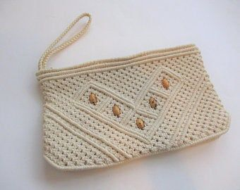 Boho Macrame Clutch Purse Vintage 1970s Wooden Beaded Handmade Hippie Bohemian Bag Handbag