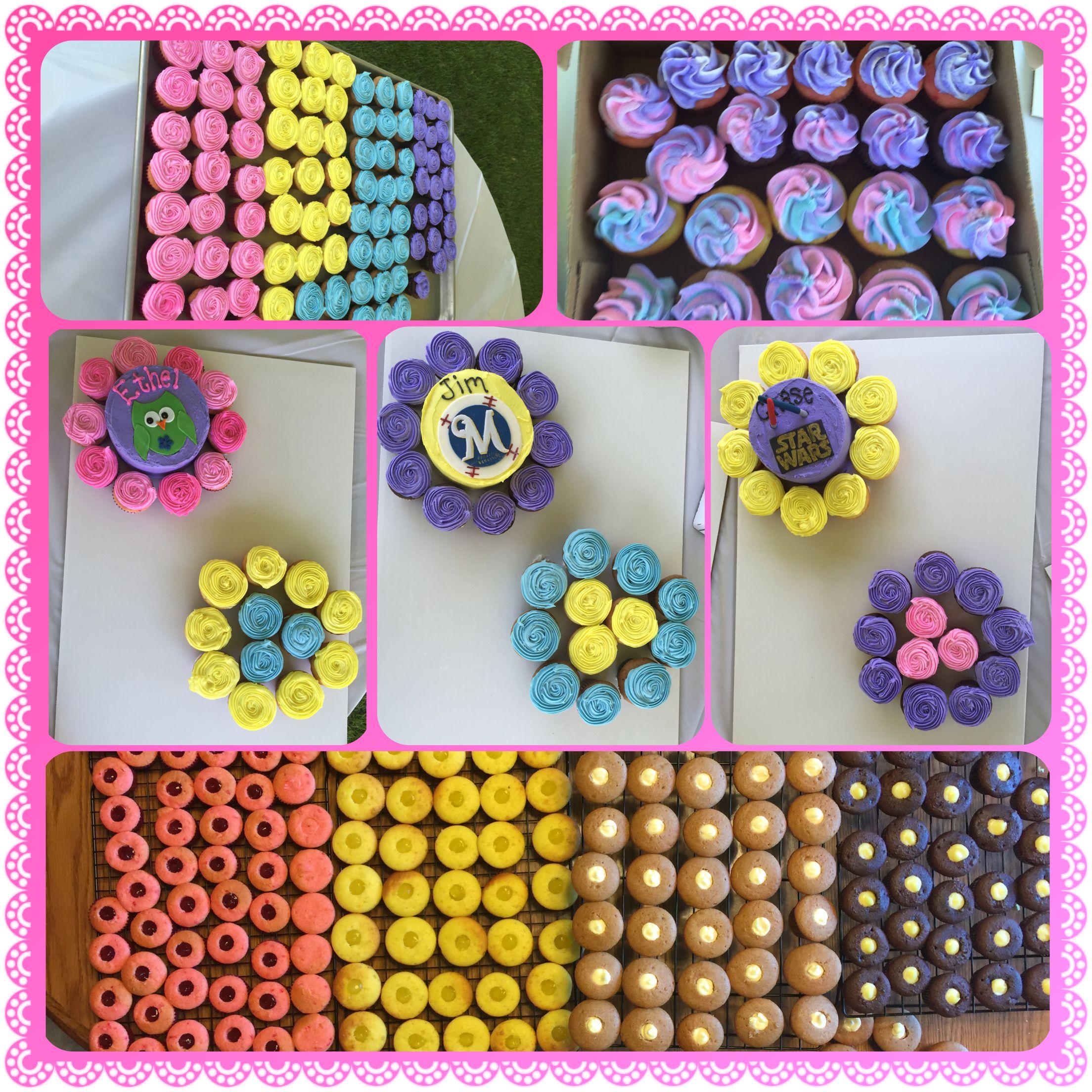 Mini filled wedding cupcakes & mini cakes.  08/15/2015