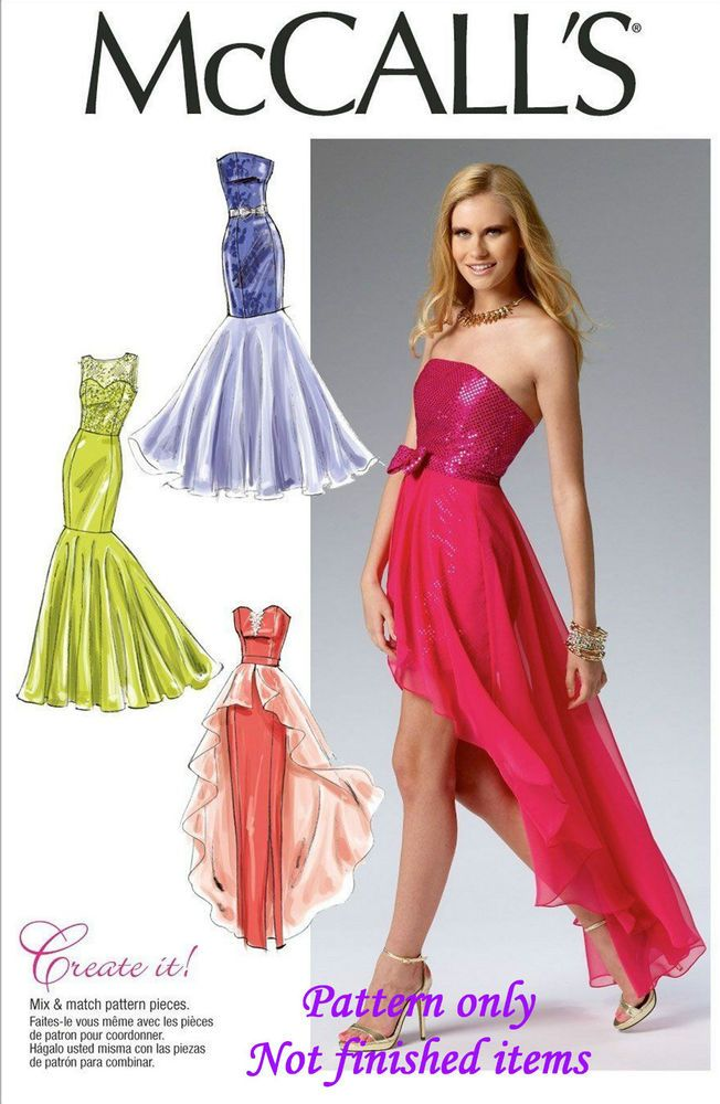 Free P&P to UK McCalls 6838 Prom Dress Ball Gown Sewing Pattern ...