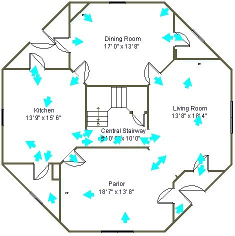 The floor plan of octagon house san francisco for Octagonal log cabin plans