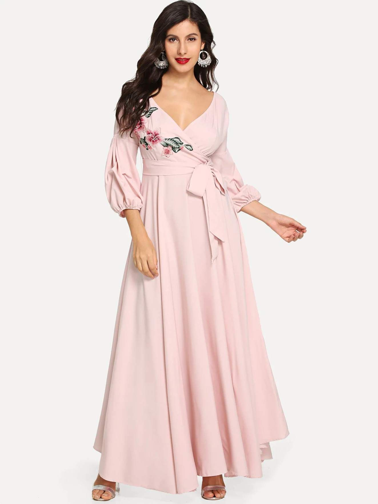 23 Flower Patch Puff Sleeve Surplice Wrap Dress Surplice Wrap Dress Dresses Dressy Dresses [ 1766 x 1323 Pixel ]