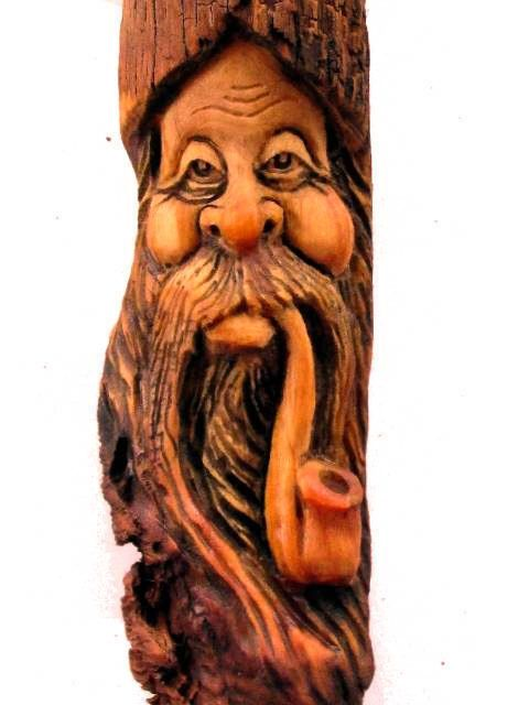 Wood Carved Pipe Knot Head Spirit Carving Sculpture Forest Face Art Gnome | eBay