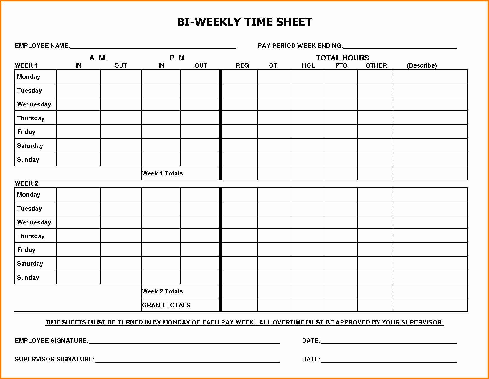 Bi Weekly Time Card Template Inspirational 60 Sample Timesheet