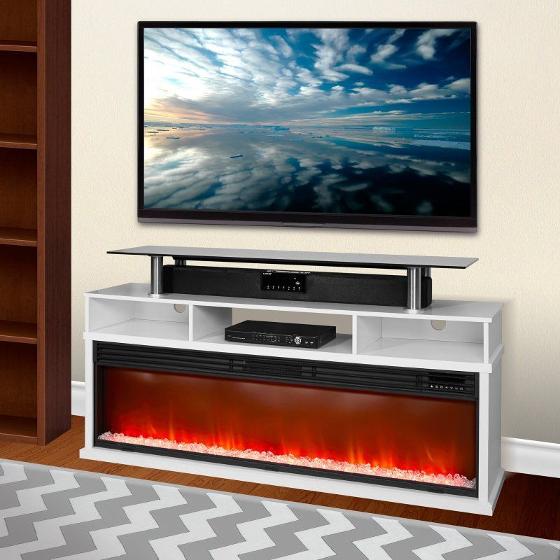 Fireplace Design lifesmart fireplace : Lifesmart 60 in. Media Console Fireplace with Northern Lights FX ...