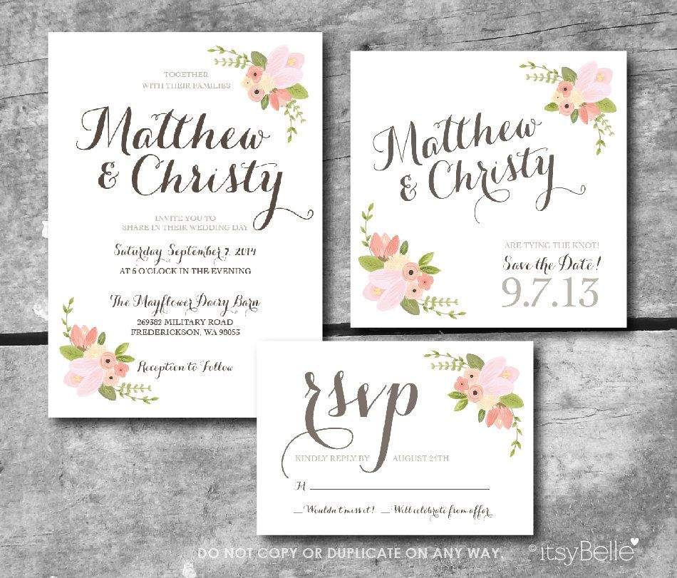 Custom Rustic Wedding Invitations: Rustic Floral Wedding Suite