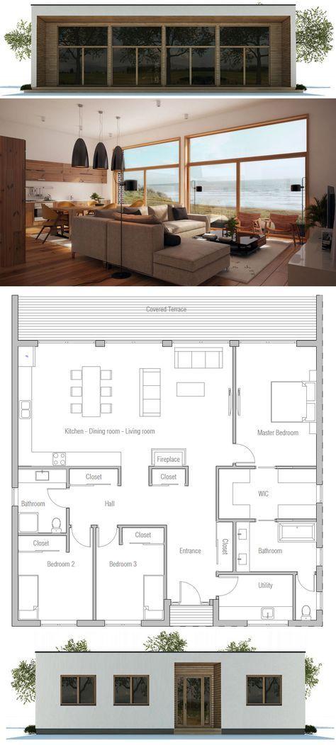Plan de Maison Maisons Pinterest Small house plans, Smallest - plan de maison design