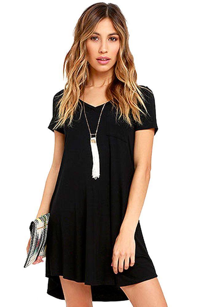 Her Simple Trendy Black Sweetheart Neck Shirt Mini Dress