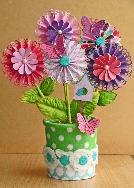 Flower Pot Scrapbook Com Flower Tutorials Scrapbooking Paper