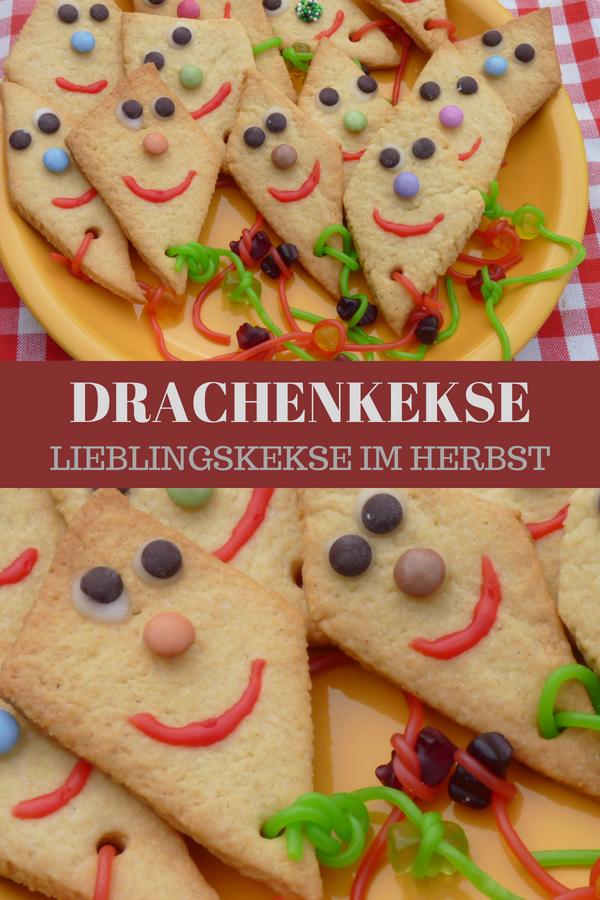 Drachenkekse - Rezept zum Kekse backen im Herbst #herbstfensterdekokinder