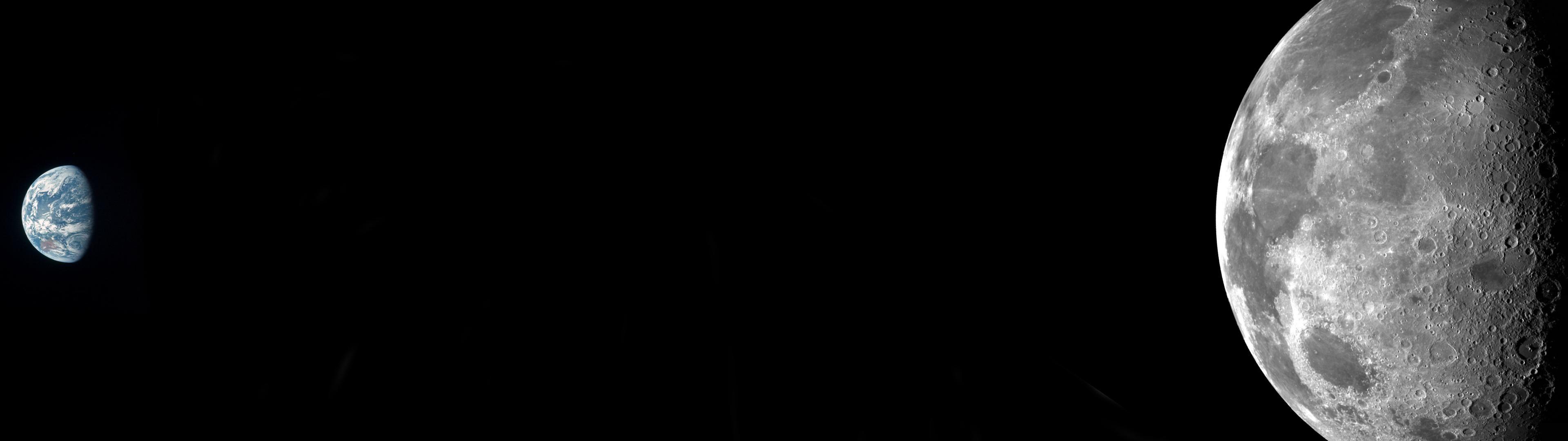The eath from moon orbit (3840x1080) dual screen