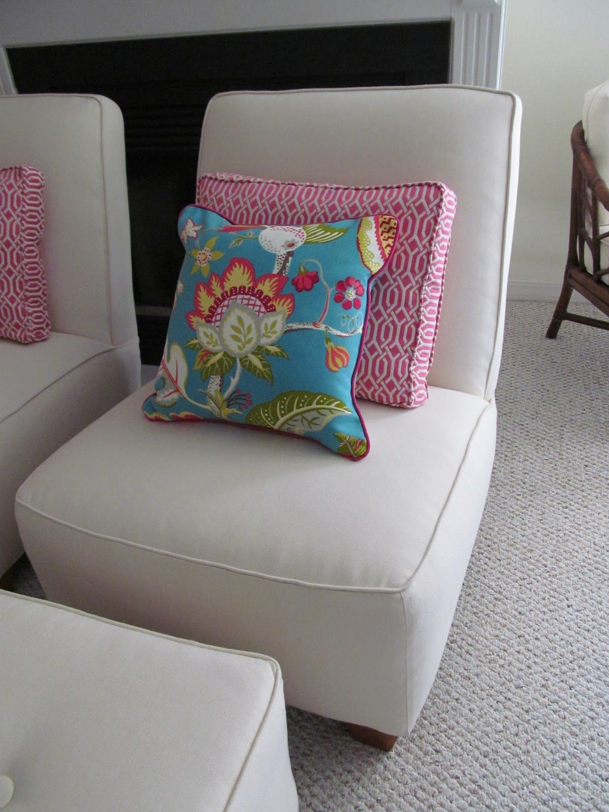 Sunbrella fabric upholstery slipcover pillows family room