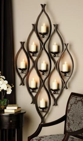 9-Pillar Candle Holder   Decor, Iron decor, Pillar candle ... on Decorative Wall Sconces Candle Holders Centerpieces Ebay id=96618