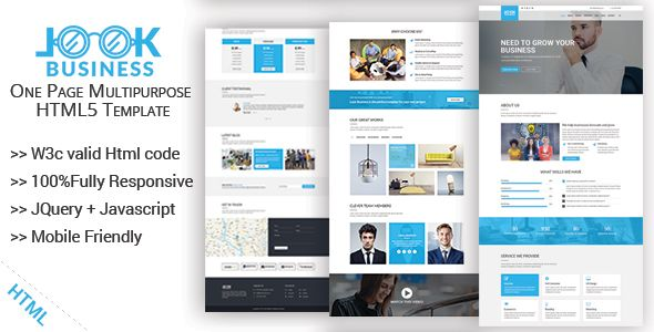 LookBusiness – is a clean,Modern and flexible One page Multipurpose ...