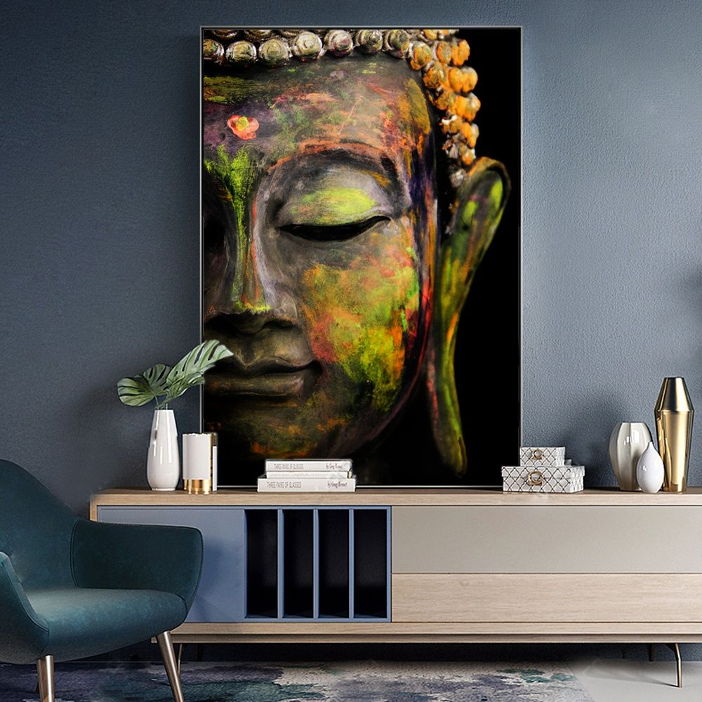 Vivid Large Buddha Face Wall Art Canvas Prints Modern Buddhism Canvas Art Paintings For Living Room Wall Art Canvas Pictures Canvas Art Canvas Art Painting Canvas Wall Art