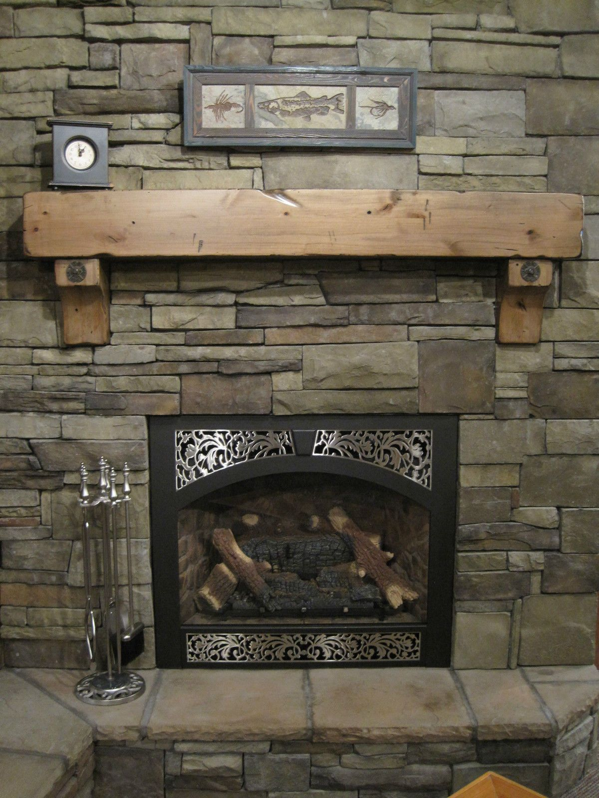 CustomMade Knotty Alder Beam Mantel Rustic Distressed Antique