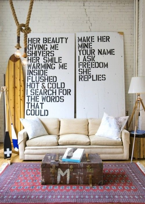 i love the idea of putting music lyrics on the walls