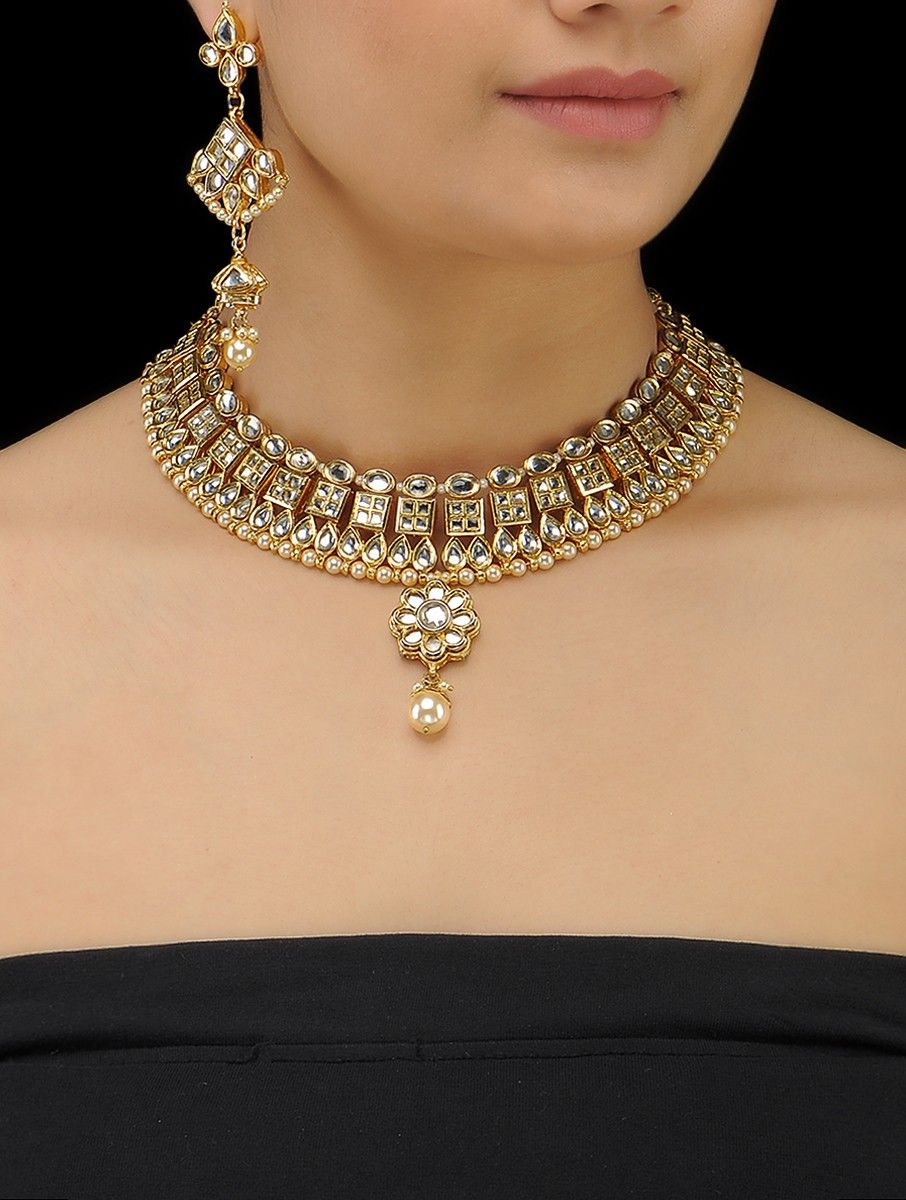 Buy classic gold tone kundaninspired shell pearl drop necklace with