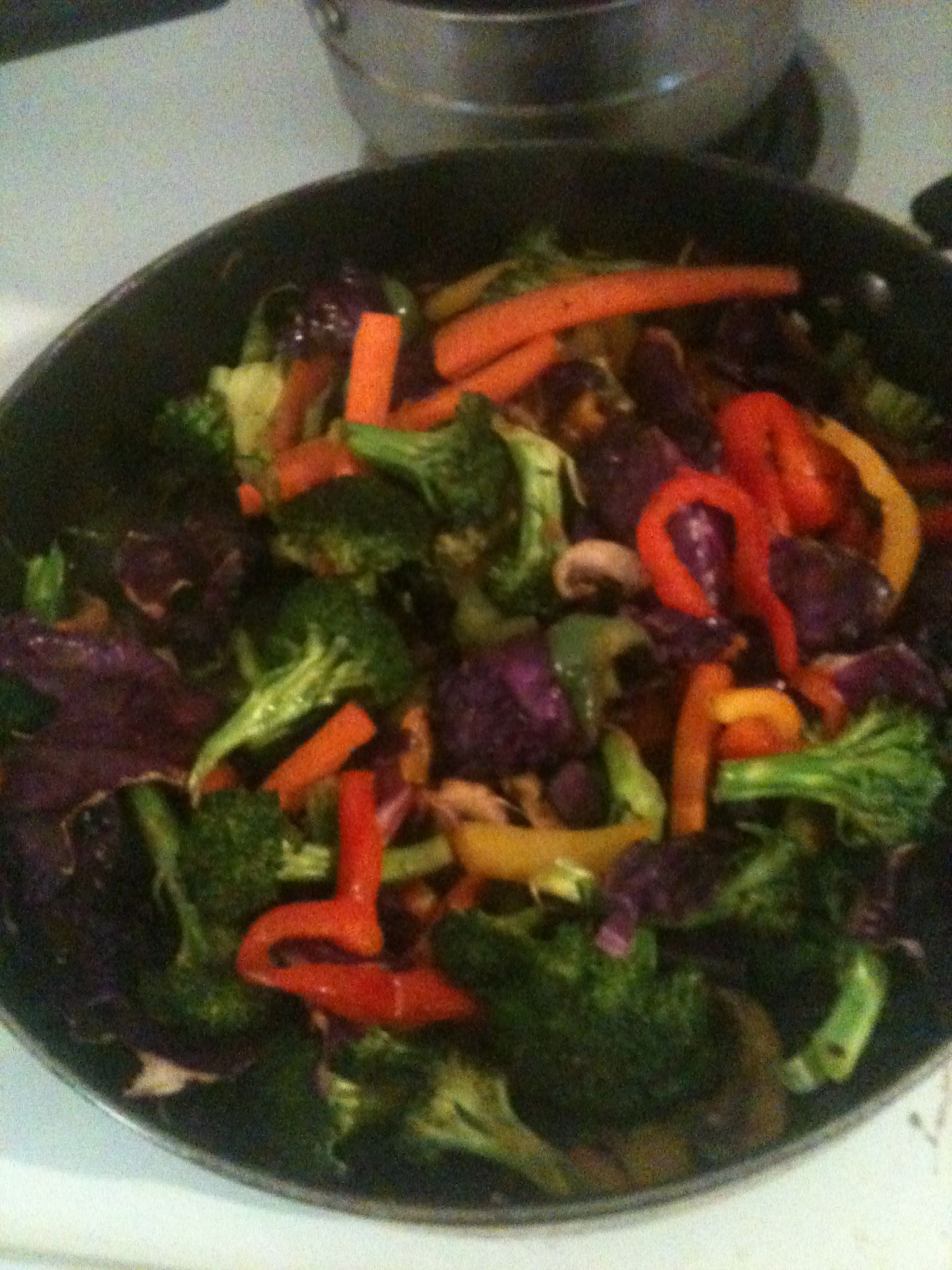 SIMPLE & HEALTHY CHINESE! sauteed fresh broccoli, carrots, peppers, red cabbage, baby portobella mushrooms. Also use asparagus, cauliflower, or any other veggies you have on hand. Spice with chopped garlic or garlic powder, chili powder, cumin, and amino braggs to replace soy sauce.