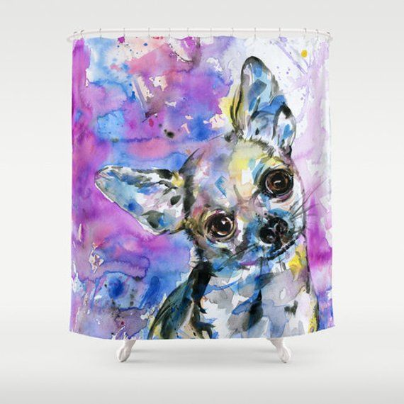 Chihuahua Shower Curtain Dog Watercolor Painting From Original