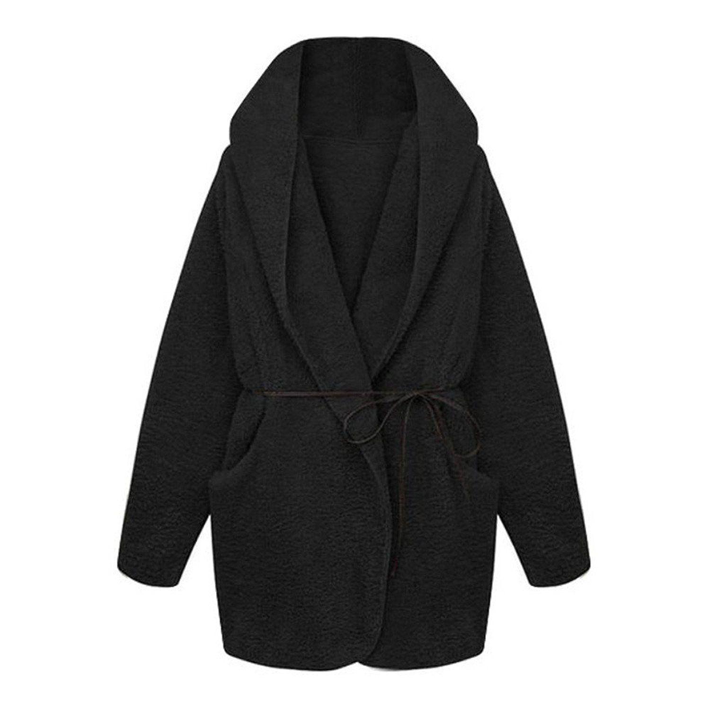 cd681831c18 Cardigan Hoodie, Dirance Women Winter Warm Hooded Fluffy Coat Fleece Faux  Fur Outwear Jacket Tops (Black) at Amazon Women's Coats Shop